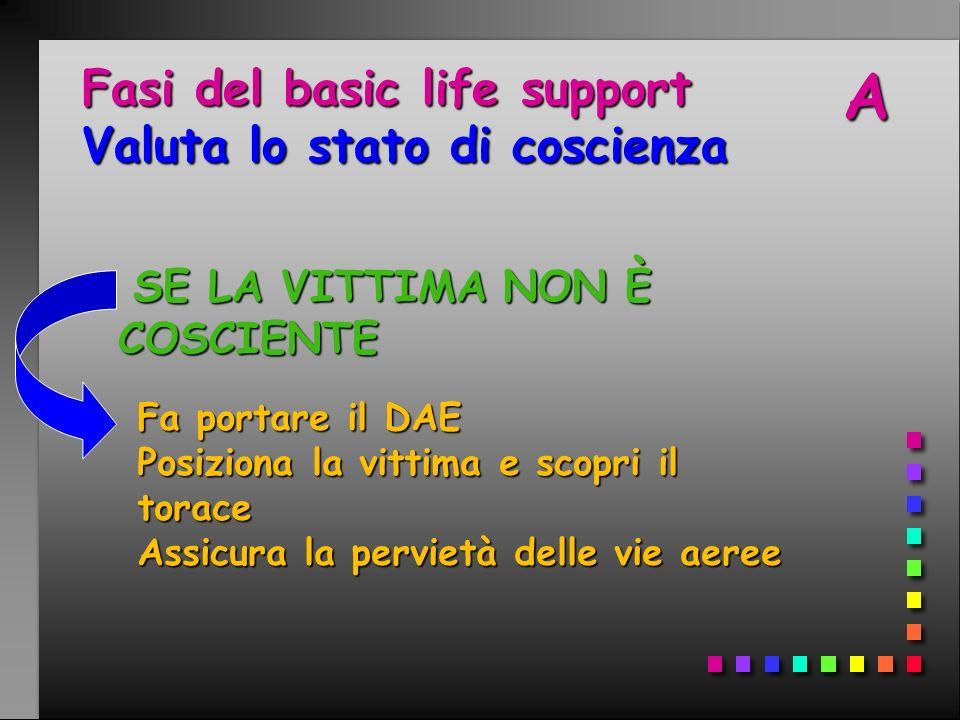 Fasi del basic life support Valuta lo stato di coscienza SE LA VITTIMA NON È COSCIENTE SE LA VITTIMA NON È COSCIENTE Fa portare il DAE Posiziona la vi