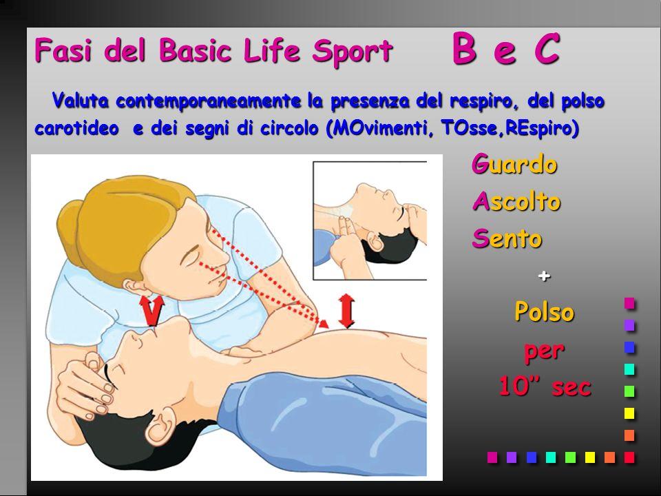 Fasi del Basic Life Sport Valuta contemporaneamente la presenza del respiro, del polso carotideo e dei segni di circolo (MOvimenti, TOsse,REspiro) B e