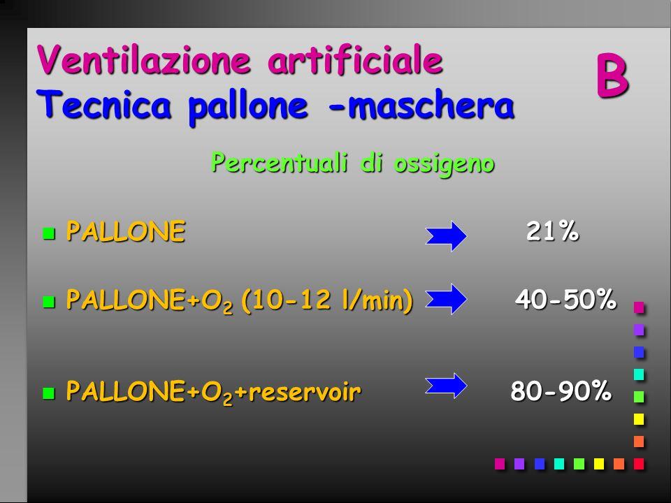Ventilazione artificiale Tecnica pallone -maschera Percentuali di ossigeno n PALLONE 21% n PALLONE+O 2 (10-12 l/min) 40-50% n PALLONE+O 2 +reservoir 8