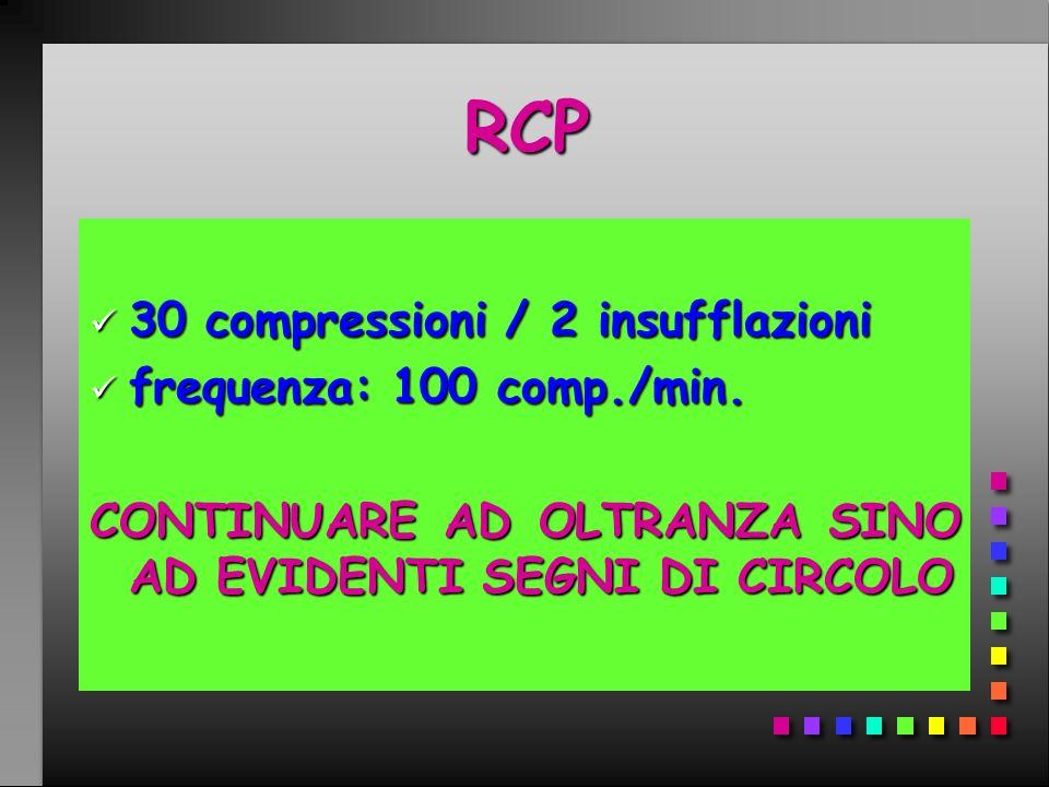 RCP RCP 30 compressioni / 2 insufflazioni 30 compressioni / 2 insufflazioni frequenza: 100 comp./min. frequenza: 100 comp./min. CONTINUARE AD OLTRANZA