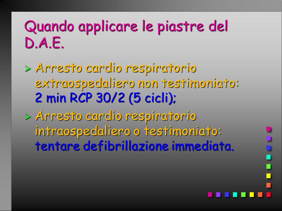 Quando applicare le piastre del D.A.E. Arresto cardio respiratorio extraospedaliero non testimoniato: 2 min RCP 30/2 (5 cicli); Arresto cardio respira