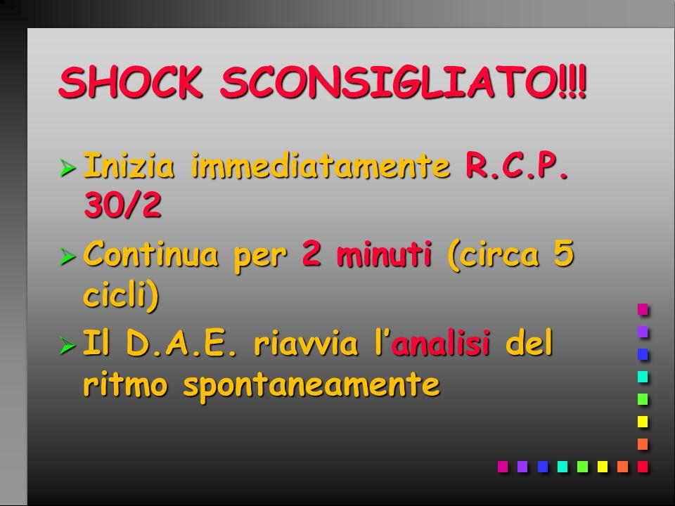 SHOCK SCONSIGLIATO!!! Inizia immediatamente R.C.P. 30/2 Inizia immediatamente R.C.P. 30/2 Continua per 2 minuti (circa 5 cicli) Continua per 2 minuti