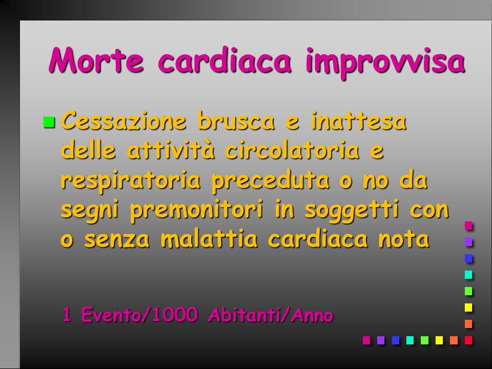 Morte cardiaca improvvisa n Cessazione brusca e inattesa delle attività circolatoria e respiratoria preceduta o no da segni premonitori in soggetti co