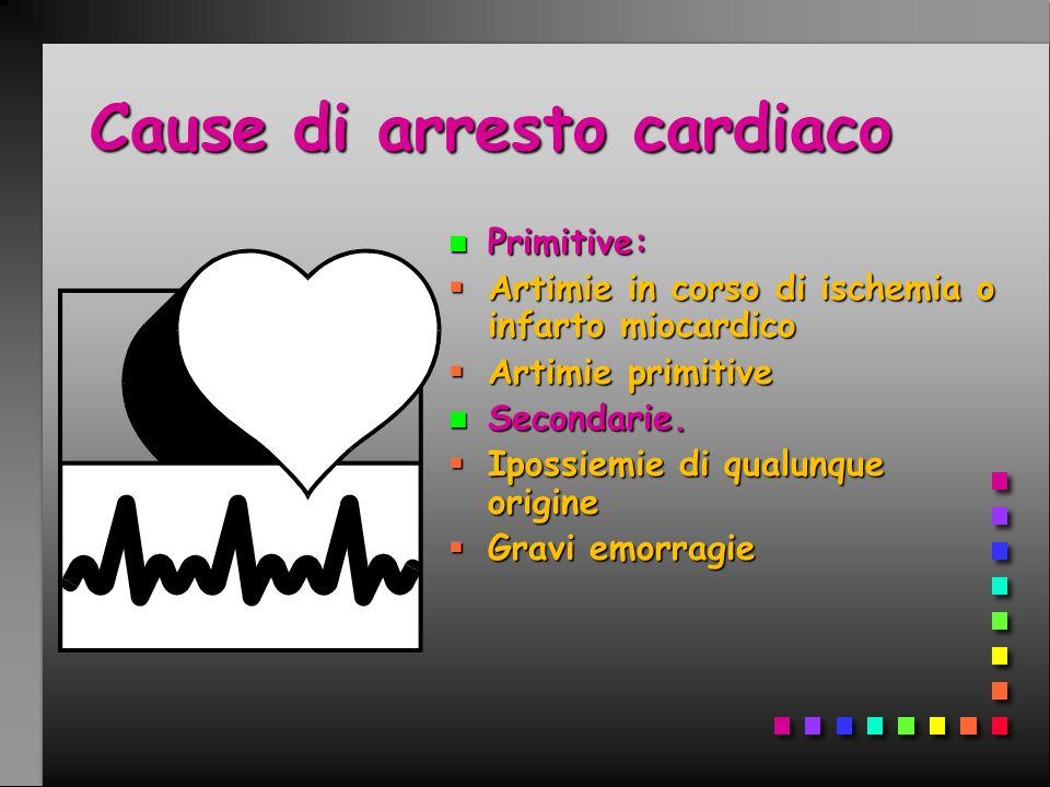 Cause di arresto cardiaco n Primitive: Artimie in corso di ischemia o infarto miocardico Artimie primitive n Secondarie. Ipossiemie di qualunque origi