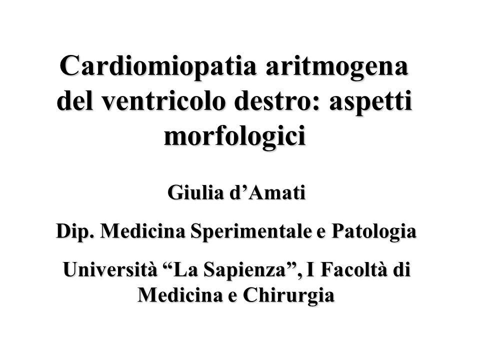 Cardiomiopatia Aritmogena 2/69 Etiopatogenesi Definizione Prevalenza Anatomia Patologica Correlazioni anatomo-cliniche