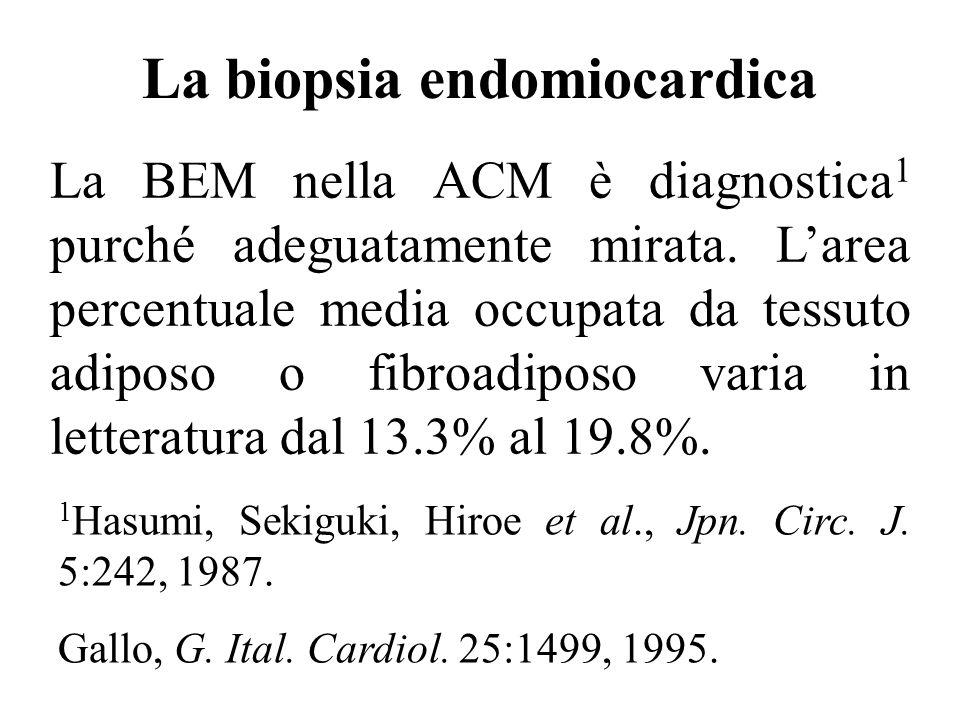 La biopsia endomiocardica La BEM nella ACM è diagnostica 1 purché adeguatamente mirata. Larea percentuale media occupata da tessuto adiposo o fibroadi