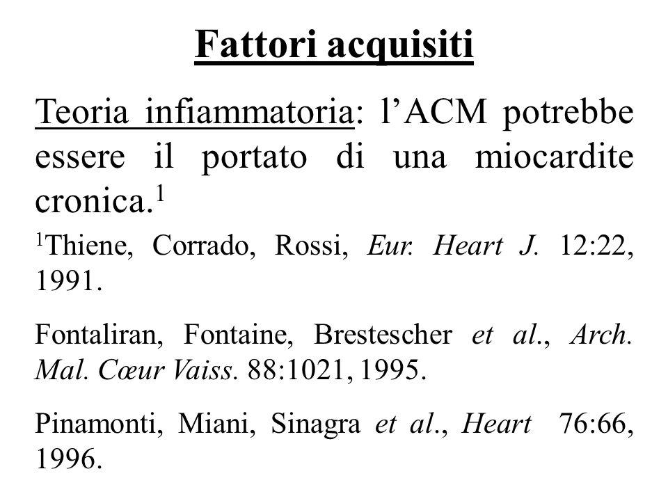 1 Thiene, Corrado, Rossi, Eur. Heart J. 12:22, 1991. Fontaliran, Fontaine, Brestescher et al., Arch. Mal. Cœur Vaiss. 88:1021, 1995. Pinamonti, Miani,