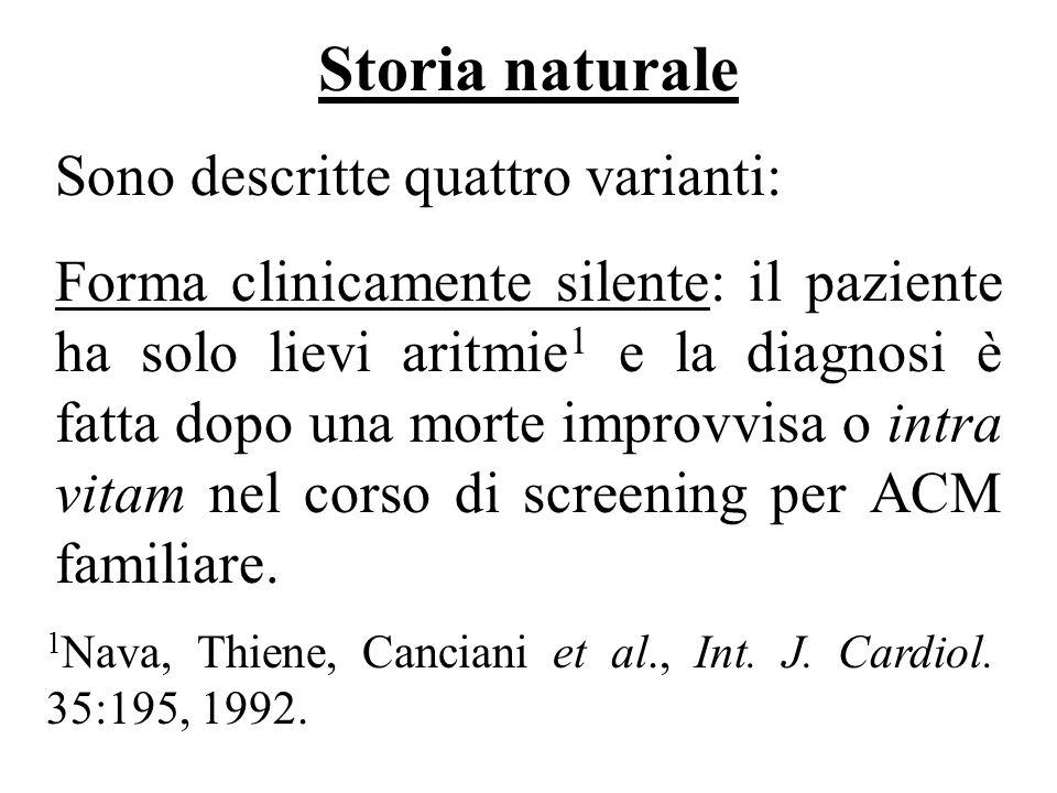 Storia naturale Sono descritte quattro varianti: Forma clinicamente silente: il paziente ha solo lievi aritmie 1 e la diagnosi è fatta dopo una morte