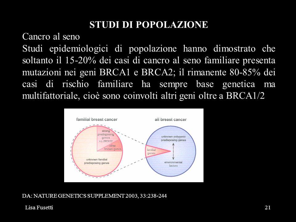 Lisa Fusetti21 STUDI DI POPOLAZIONE Cancro al seno Studi epidemiologici di popolazione hanno dimostrato che soltanto il 15-20% dei casi di cancro al s