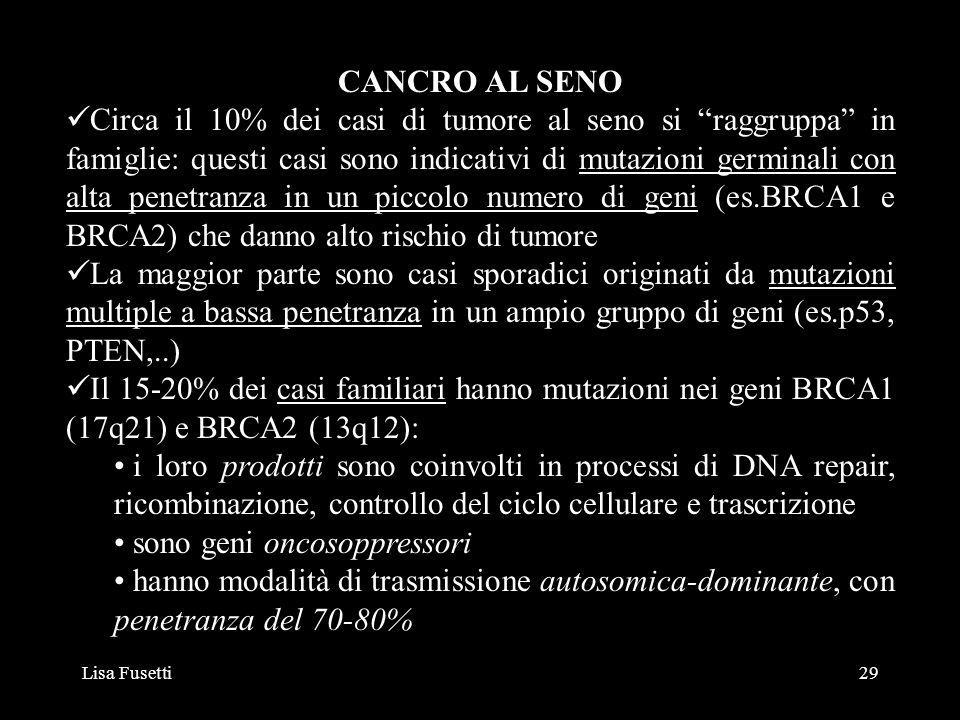 Lisa Fusetti29 CANCRO AL SENO Circa il 10% dei casi di tumore al seno si raggruppa in famiglie: questi casi sono indicativi di mutazioni germinali con