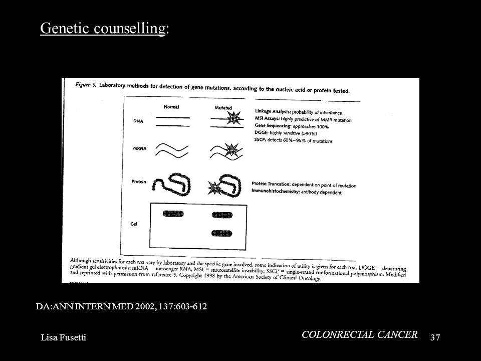 Lisa Fusetti37 COLONRECTAL CANCER Genetic counselling: DA:ANN INTERN MED 2002, 137:603-612
