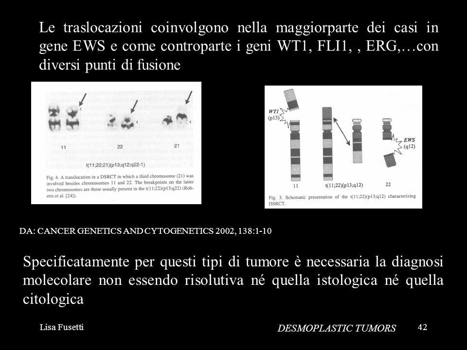 Lisa Fusetti42 DESMOPLASTIC TUMORS Le traslocazioni coinvolgono nella maggiorparte dei casi in gene EWS e come controparte i geni WT1, FLI1,, ERG,…con