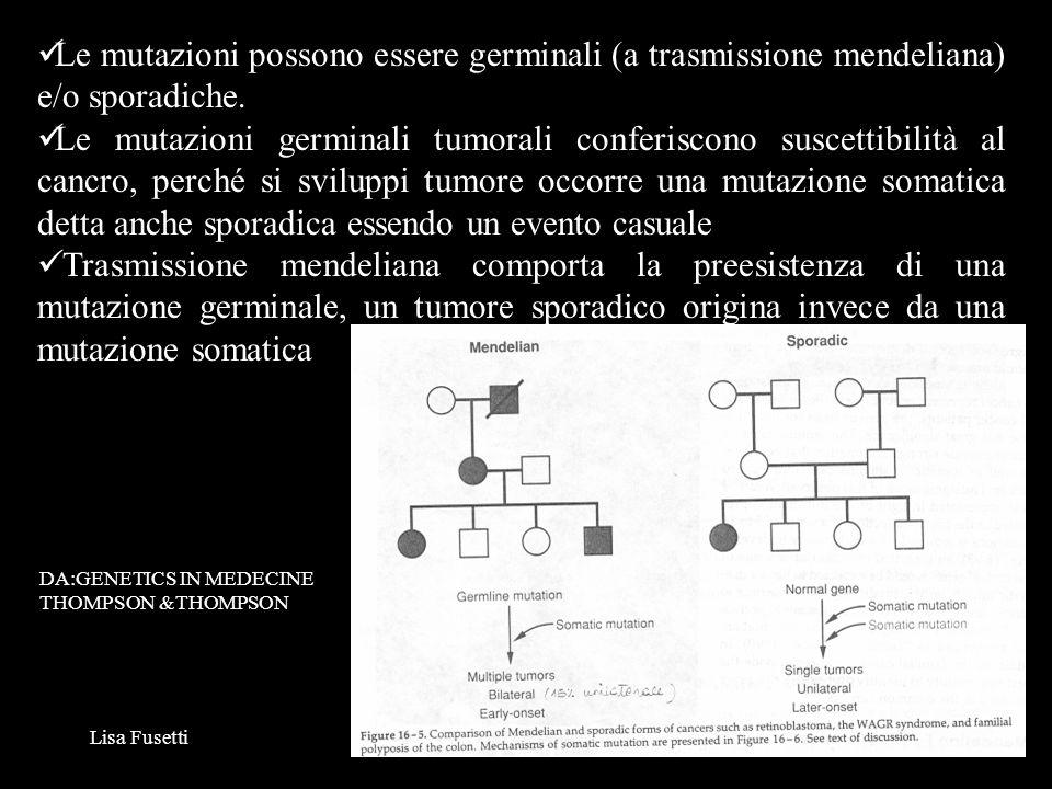 Lisa Fusetti7 Le mutazioni tumorali interessano geni che controllano la proliferazione, il differenziamento e la morte cellulare: ONCOGENI PROTO-ONCOGENI: mutazioni gain of function, per lo più in eterozigosi, spesso mutazioni somatiche GENI ONCOSOPPRESSORI: mutazioni loss of function, solo in omozigosi ONCOGENI/ONCOSOPPRESSORI