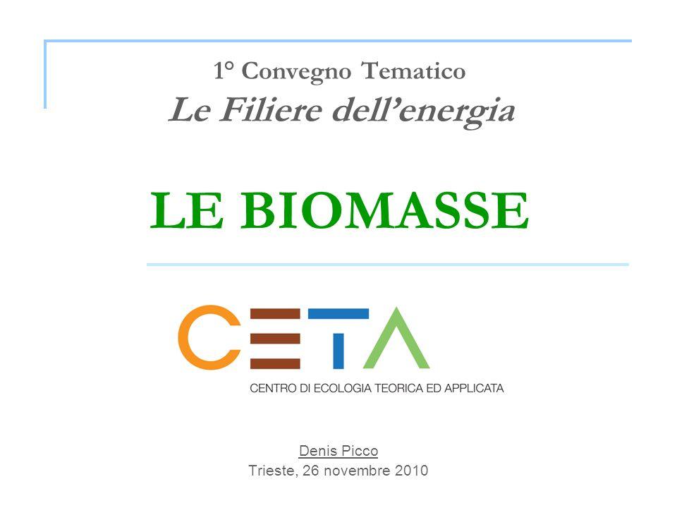 Trieste, 26 novembre 2010 Modello di filiera agro-energetica BIOMASSE UTILIZZABILI Colture dedicate e residui colturali Parametri fondamentali Produzioni biomassa (t/ha) p.c.i.