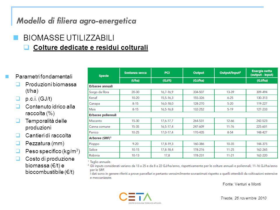 Trieste, 26 novembre 2010 Modello di filiera agro-energetica BIOMASSE UTILIZZABILI Colture dedicate e residui colturali Parametri fondamentali Produzi