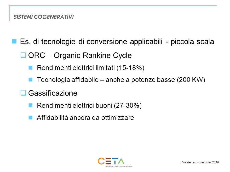 Trieste, 26 novembre 2010 SISTEMI COGENERATIVI Es. di tecnologie di conversione applicabili - piccola scala ORC – Organic Rankine Cycle Rendimenti ele