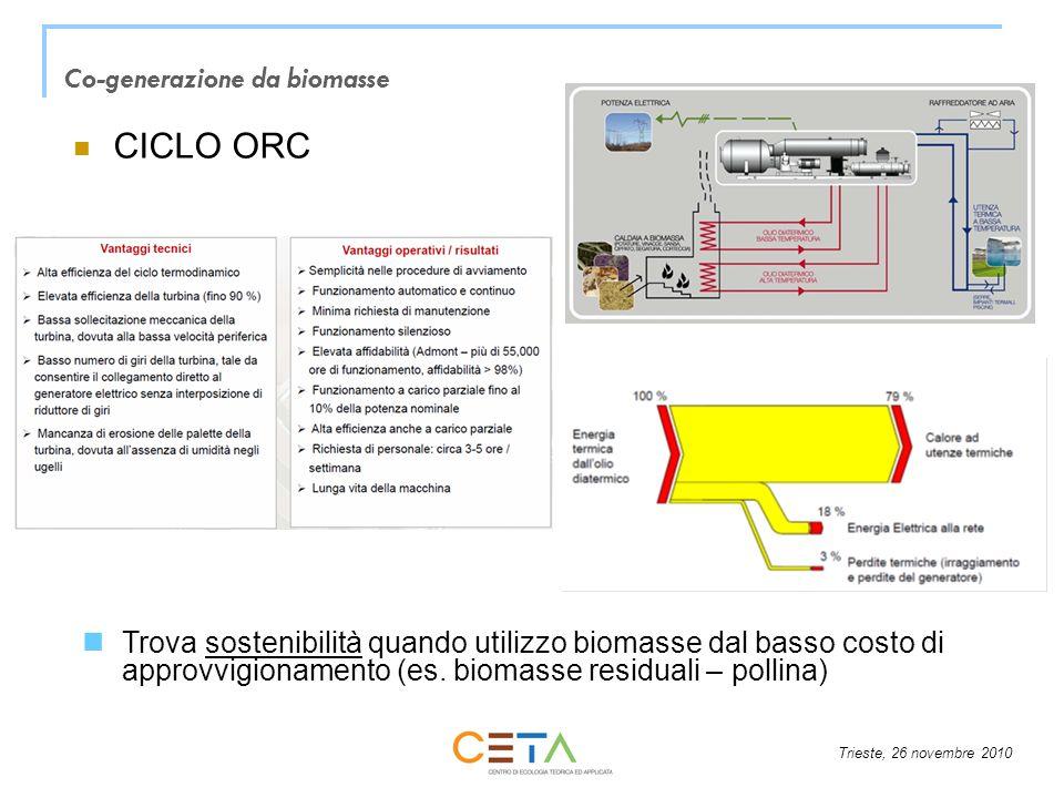 Trieste, 26 novembre 2010 CICLO ORC Co-generazione da biomasse Trova sostenibilità quando utilizzo biomasse dal basso costo di approvvigionamento (es.