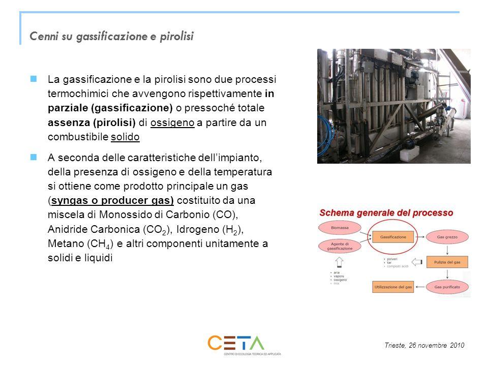 Trieste, 26 novembre 2010 Cenni su gassificazione e pirolisi La gassificazione e la pirolisi sono due processi termochimici che avvengono rispettivamente in parziale (gassificazione) o pressoché totale assenza (pirolisi) di ossigeno a partire da un combustibile solido A seconda delle caratteristiche dellimpianto, della presenza di ossigeno e della temperatura si ottiene come prodotto principale un gas (syngas o producer gas) costituito da una miscela di Monossido di Carbonio (CO), Anidride Carbonica (CO 2 ), Idrogeno (H 2 ), Metano (CH 4 ) e altri componenti unitamente a solidi e liquidi