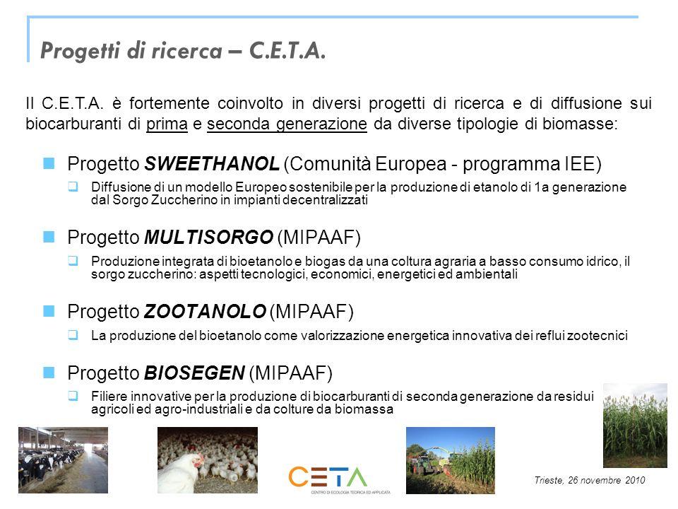 Trieste, 26 novembre 2010 Progetti di ricerca – C.E.T.A. Progetto SWEETHANOL (Comunità Europea - programma IEE) Diffusione di un modello Europeo soste