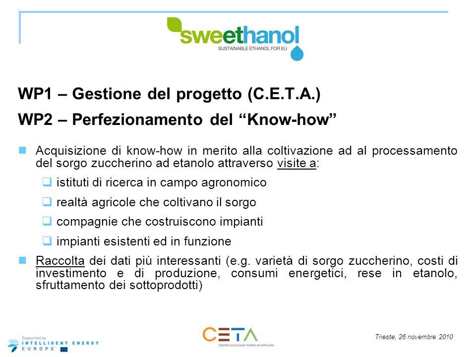 Trieste, 26 novembre 2010 WP1 – Gestione del progetto (C.E.T.A.) WP2 – Perfezionamento del Know-how Acquisizione di know-how in merito alla coltivazio