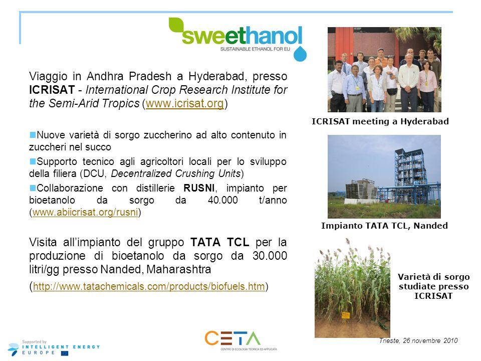 Trieste, 26 novembre 2010 Viaggio in Andhra Pradesh a Hyderabad, presso ICRISAT - International Crop Research Institute for the Semi-Arid Tropics (www
