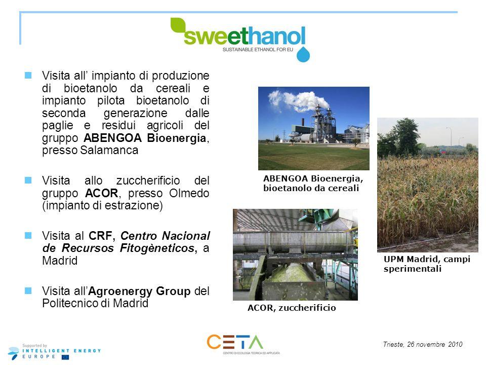 Trieste, 26 novembre 2010 Visita all impianto di produzione di bioetanolo da cereali e impianto pilota bioetanolo di seconda generazione dalle paglie