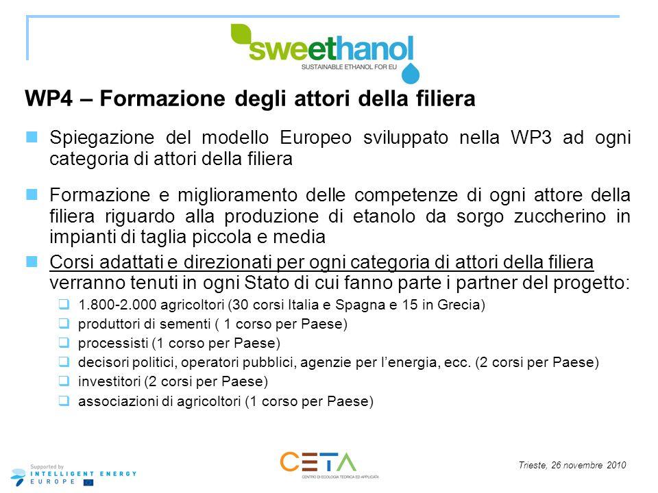 Trieste, 26 novembre 2010 WP4 – Formazione degli attori della filiera Spiegazione del modello Europeo sviluppato nella WP3 ad ogni categoria di attori