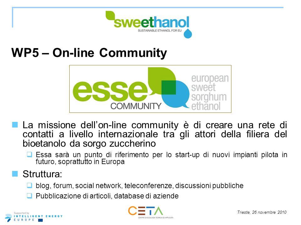 Trieste, 26 novembre 2010 WP5 – On-line Community La missione dellon-line community è di creare una rete di contatti a livello internazionale tra gli