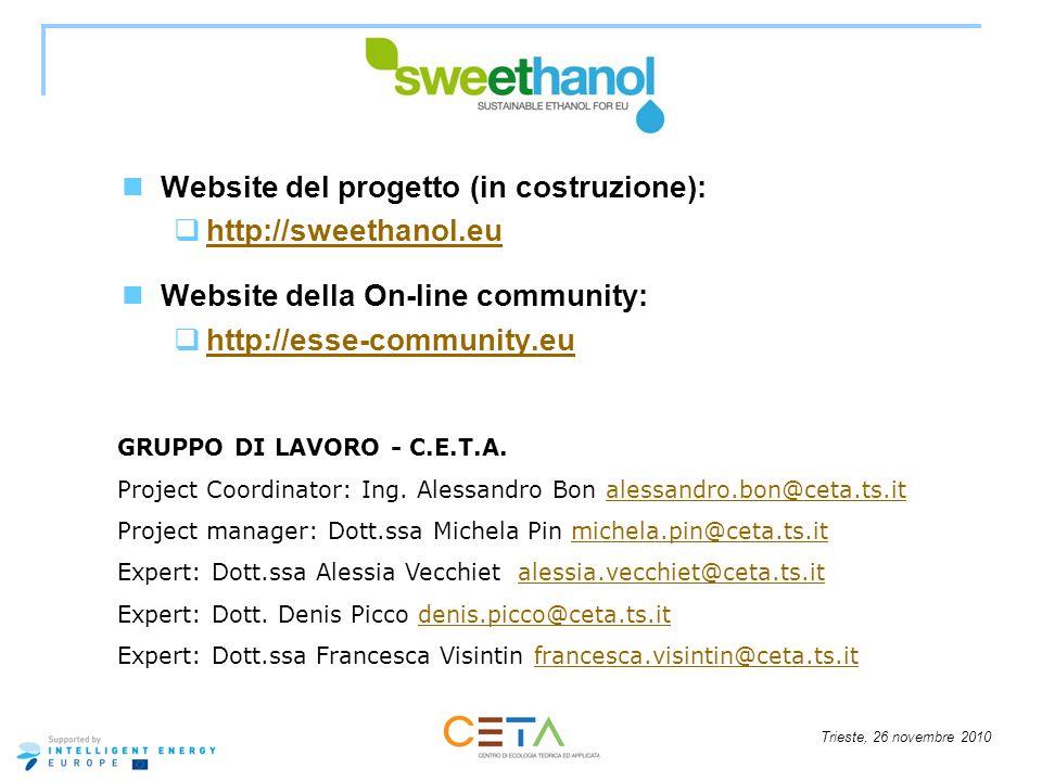 Trieste, 26 novembre 2010 Website del progetto (in costruzione): http://sweethanol.eu Website della On-line community: http://esse-community.eu GRUPPO DI LAVORO - C.E.T.A.