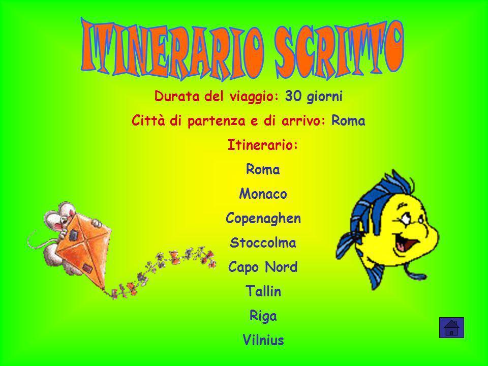 Durata del viaggio: 30 giorni Città di partenza e di arrivo: Roma Itinerario: Roma Monaco Copenaghen Stoccolma Capo Nord Tallin Riga Vilnius