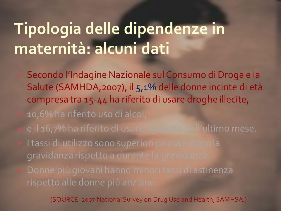 Secondo lIndagine Nazionale sul Consumo di Droga e la Salute (SAMHDA,2007), il 5,1% delle donne incinte di età compresa tra 15-44 ha riferito di usare droghe illecite, 10,6% ha riferito uso di alcol, e il 16,7% ha riferito di usare sigarette nellultimo mese.