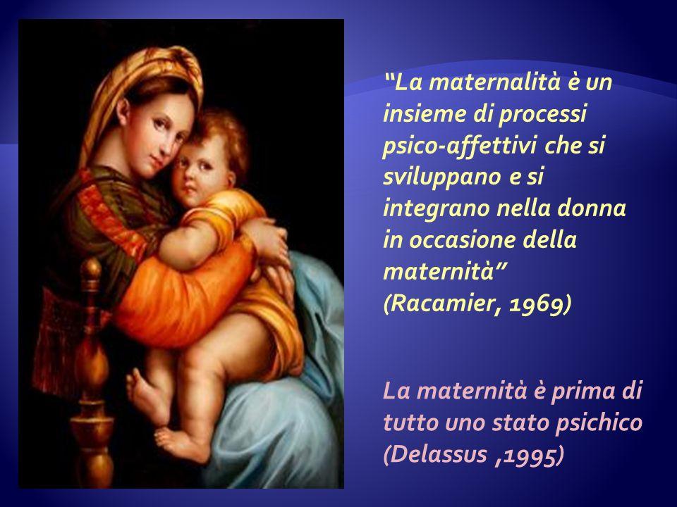 La maternalità è un insieme di processi psico-affettivi che si sviluppano e si integrano nella donna in occasione della maternità (Racamier, 1969) La maternità è prima di tutto uno stato psichico (Delassus,1995)