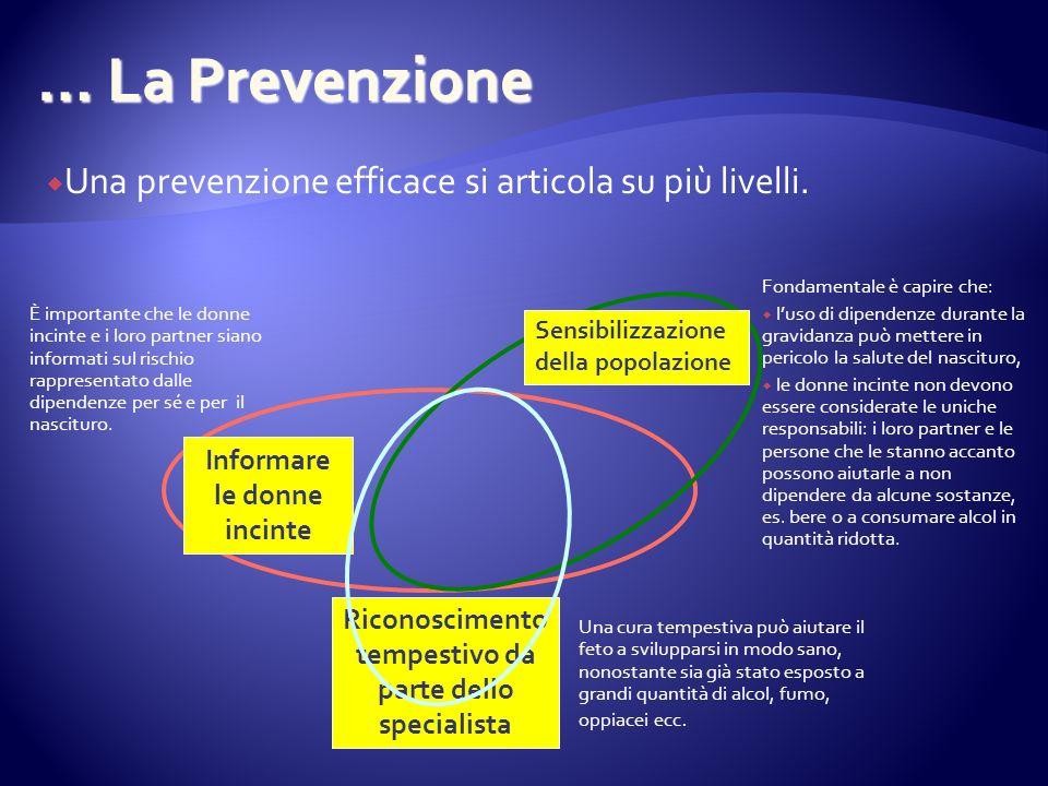 … La Prevenzione È importante che le donne incinte e i loro partner siano informati sul rischio rappresentato dalle dipendenze per sé e per il nascituro.