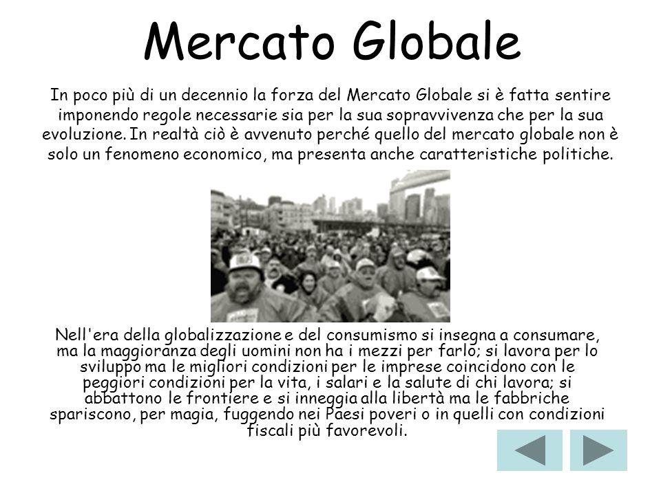Mercato Globale Nell'era della globalizzazione e del consumismo si insegna a consumare, ma la maggioranza degli uomini non ha i mezzi per farlo; si la