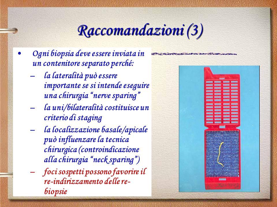 Raccomandazioni (3) Ogni biopsia deve essere inviata in un contenitore separato perché: –la lateralità può essere importante se si intende eseguire un