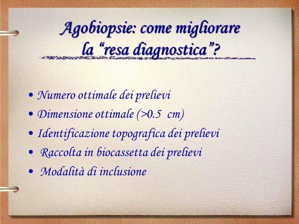 Agobiopsie: come migliorare la resa diagnostica? Numero ottimale dei prelievi Dimensione ottimale (>0.5 cm) Identificazione topografica dei prelievi R