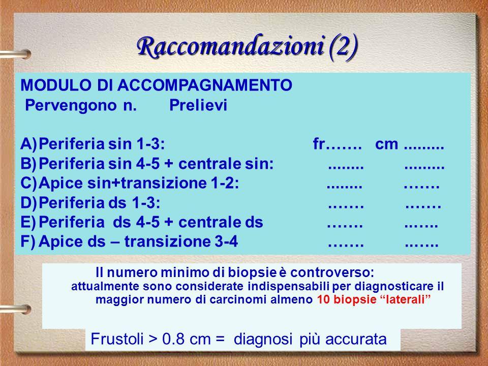 MODULO DI ACCOMPAGNAMENTO Pervengono n. Prelievi A)Periferia sin 1-3: fr……. cm......... B)Periferia sin 4-5 + centrale sin:................. C)Apice s
