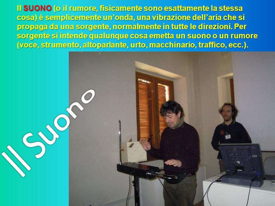 Il SUONO (o il rumore, fisicamente sono esattamente la stessa cosa) è semplicemente unonda, una vibrazione dellaria che si propaga da una sorgente, no