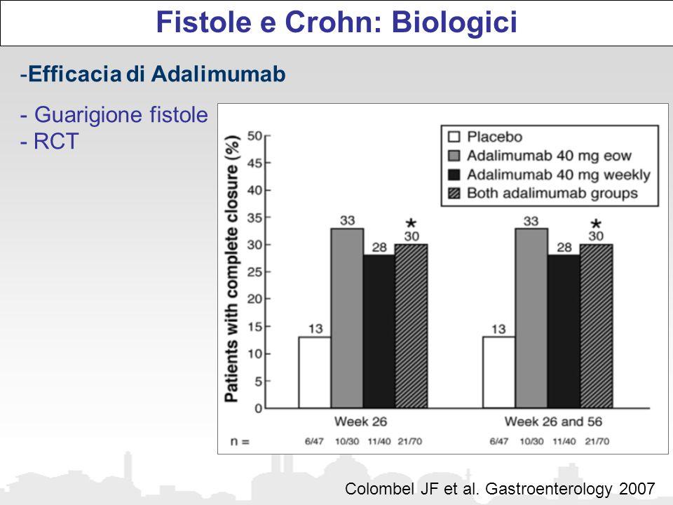 Fistole e Crohn: Biologici -Efficacia di Adalimumab - Guarigione fistole - RCT Colombel JF et al. Gastroenterology 2007
