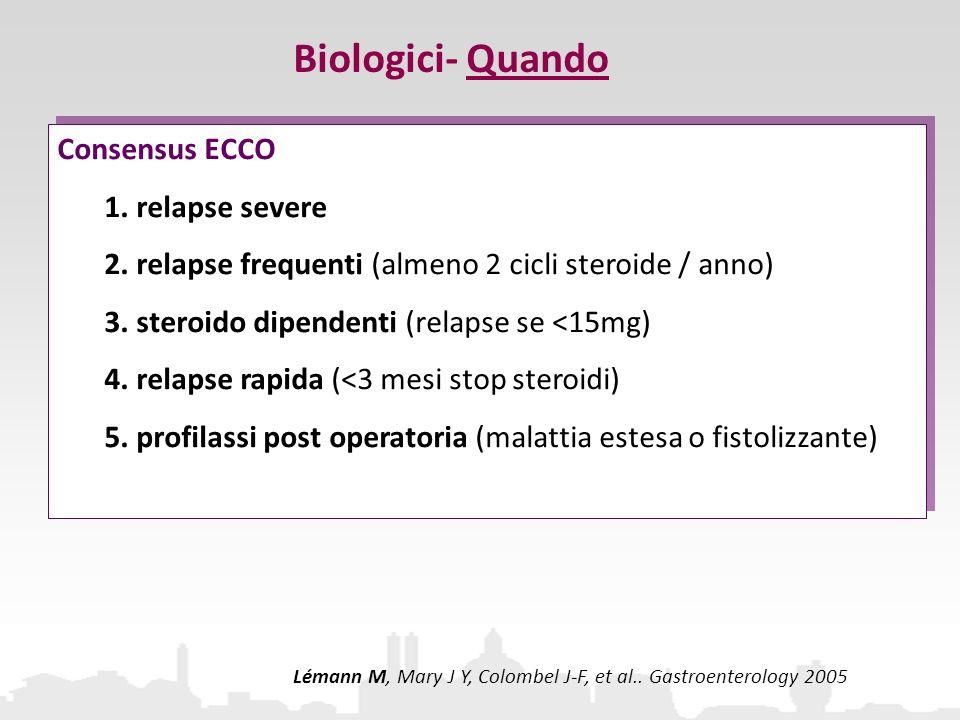 Biologici- Quando Consensus ECCO 1. relapse severe 2. relapse frequenti (almeno 2 cicli steroide / anno) 3. steroido dipendenti (relapse se <15mg) 4.