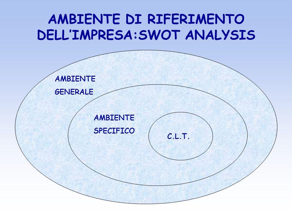AMBIENTE DI RIFERIMENTO DELLIMPRESA:SWOT ANALYSIS AMBIENTE GENERALE AMBIENTE SPECIFICO C.L.T.