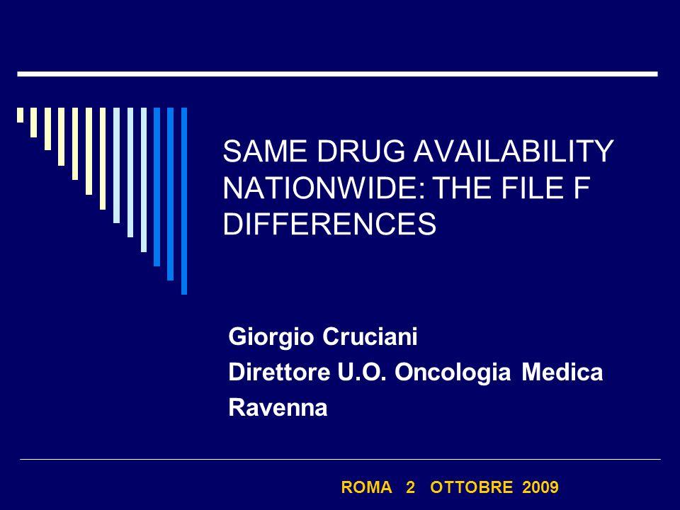 SAME DRUG AVAILABILITY NATIONWIDE: THE FILE F DIFFERENCES Giorgio Cruciani Direttore U.O. Oncologia Medica Ravenna ROMA 2 OTTOBRE 2009