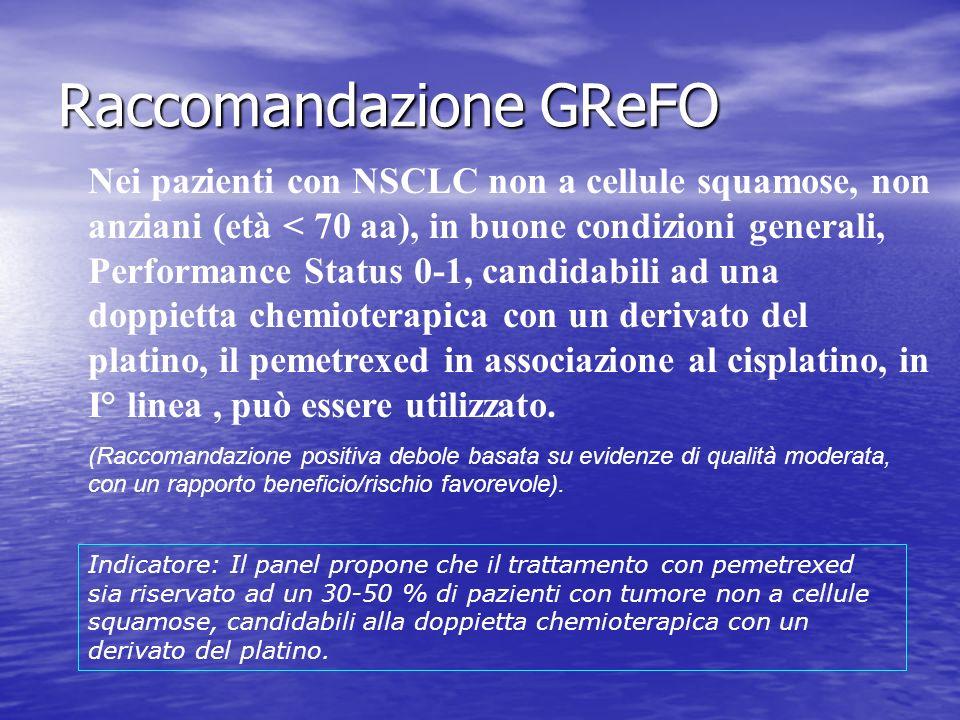 Raccomandazione GReFO Nei pazienti con NSCLC non a cellule squamose, non anziani (età < 70 aa), in buone condizioni generali, Performance Status 0-1,