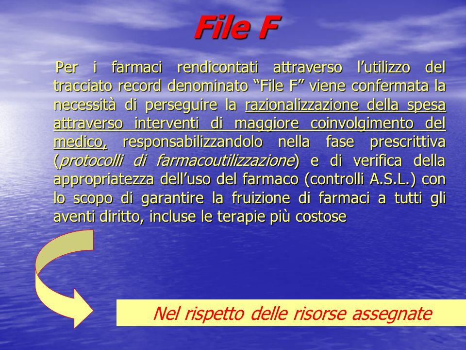 File F Per i farmaci rendicontati attraverso lutilizzo del tracciato record denominato File F viene confermata la necessità di perseguire la razionali