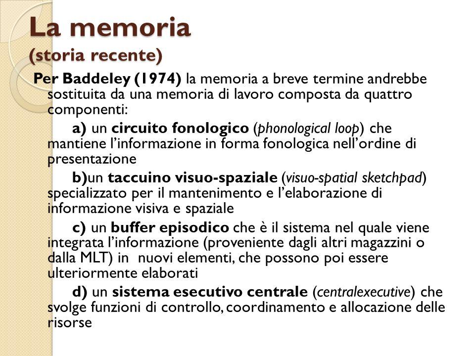 La memoria (storia recente) Per Baddeley (1974) la memoria a breve termine andrebbe sostituita da una memoria di lavoro composta da quattro componenti