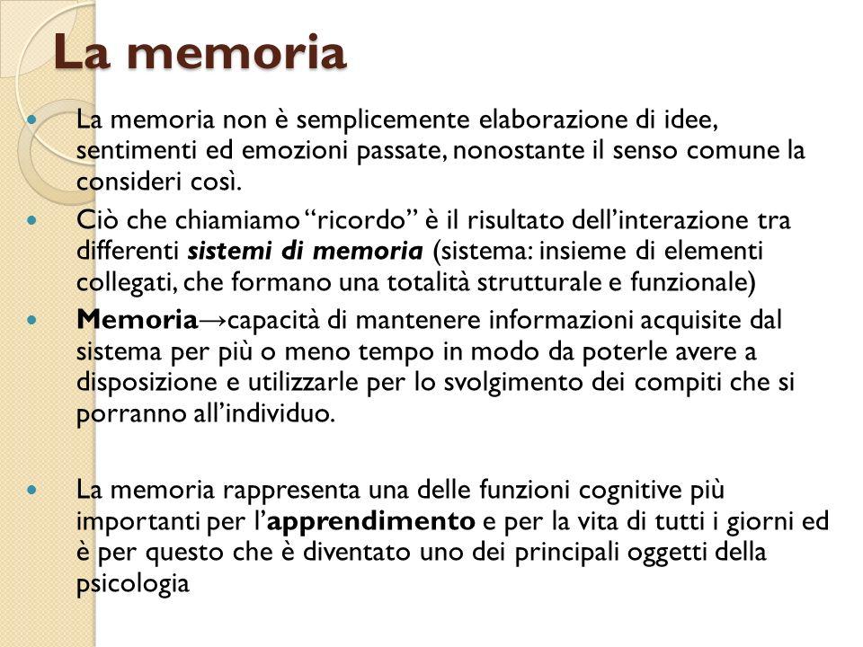 La memoria (definizioni) Memoria a breve termine memoria immediata per eventi, immagazzina passivamente le informazioni che possono, o non, essere consolidate nelle memoria a lungo termine.