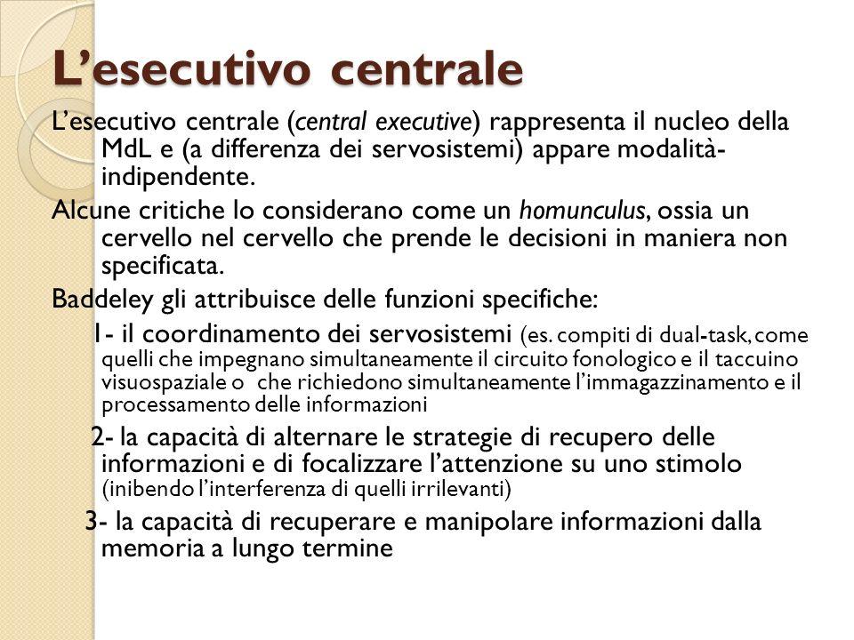 Lesecutivo centrale Lesecutivo centrale (central executive) rappresenta il nucleo della MdL e (a differenza dei servosistemi) appare modalità- indipen