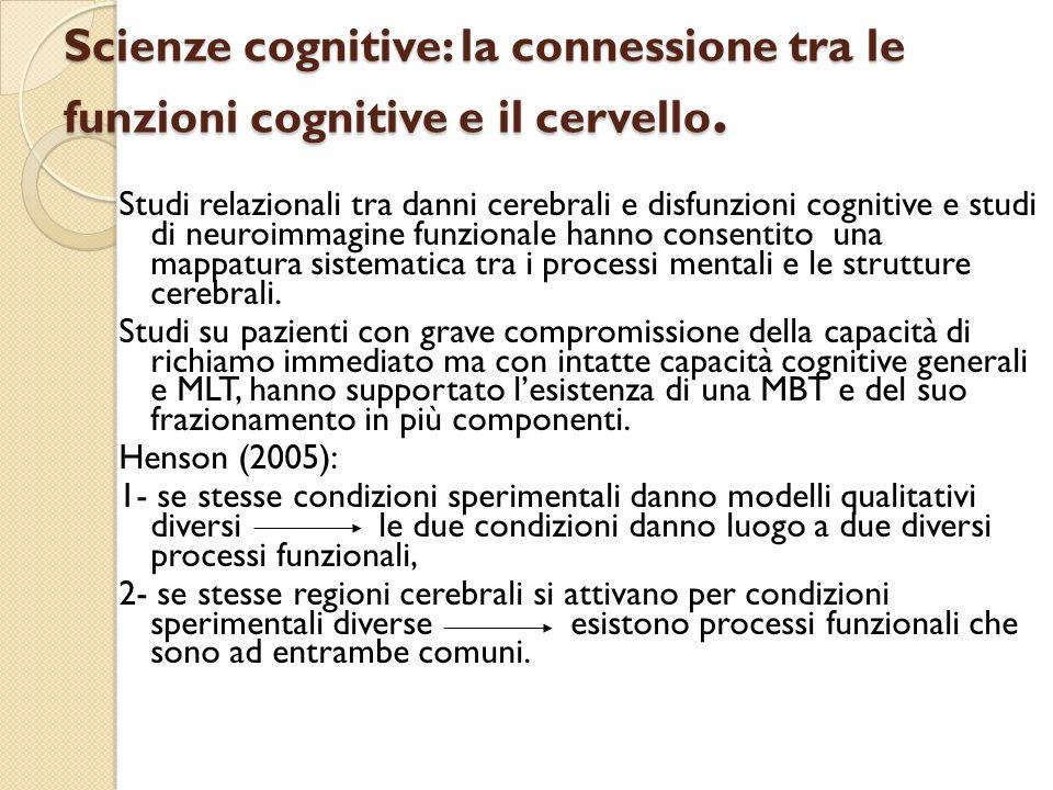 Scienze cognitive: la connessione tra le funzioni cognitive e il cervello. Studi relazionali tra danni cerebrali e disfunzioni cognitive e studi di ne