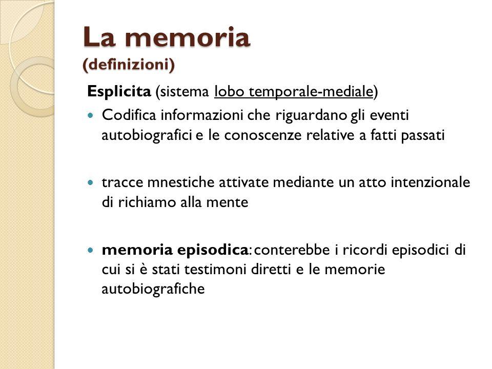 La memoria (definizioni) Esplicita (sistema lobo temporale-mediale) Codifica informazioni che riguardano gli eventi autobiografici e le conoscenze rel