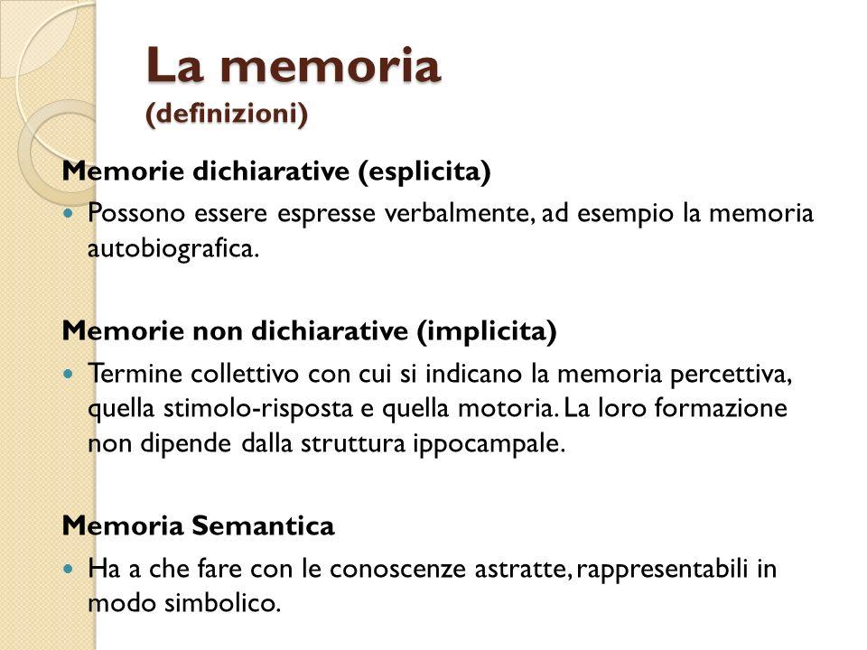 La memoria (definizioni) Memorie dichiarative (esplicita) Possono essere espresse verbalmente, ad esempio la memoria autobiografica. Memorie non dichi